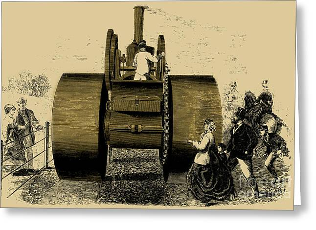 Enhanced Greeting Cards - 1866 Steam Road Roller Greeting Card by Science Source