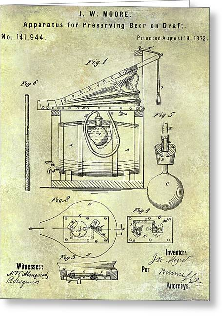 1873 Draft Beer Patent Greeting Card by Jon Neidert