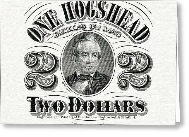 1878 Hogshead Beer Tax Stamp  Greeting Card by Jon Neidert