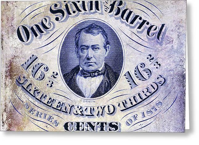 1878 One Sixth Beer Barrel Tax Stamp Greeting Card by Jon Neidert
