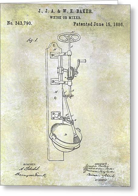 1886 Whisk Or Mixer Patent Greeting Card