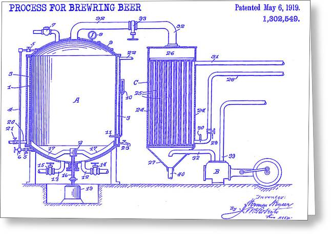 1893 Beer Manufacturing Patent Blueprint Greeting Card by Jon Neidert