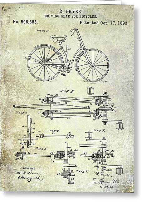 1893 Bicycle Patent Greeting Card by Jon Neidert