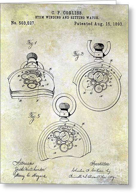 1893 Pocket Watch Patent Greeting Card
