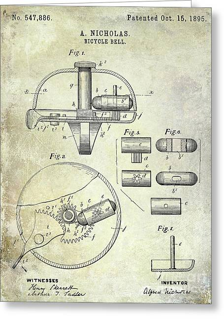 1895 Bicycle Bell Patent Greeting Card by Jon Neidert