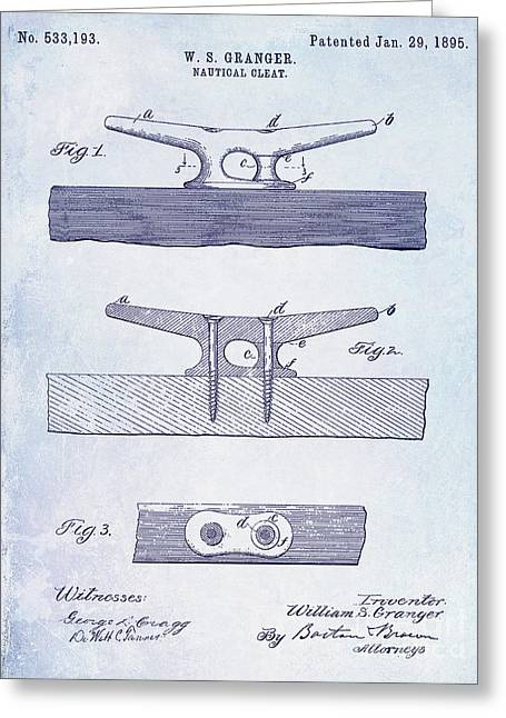 1895 Nautical Cleat Patent Greeting Card by Jon Neidert