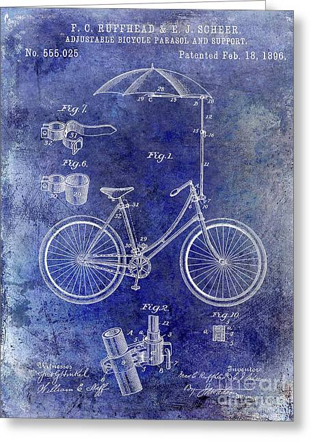 1896 Bicycle Patent Greeting Card by Jon Neidert