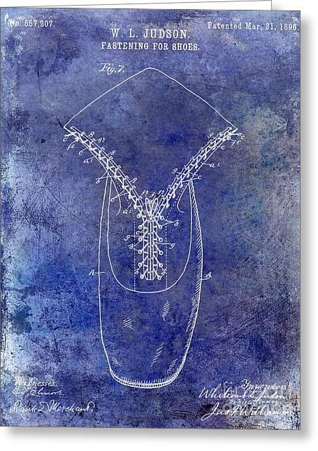 1896 Shoe Patent Blue Greeting Card by Jon Neidert