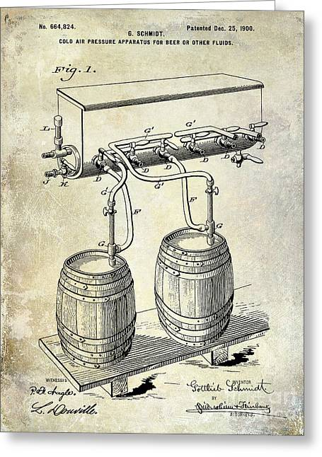 1900 Beer Keg System Patent Greeting Card