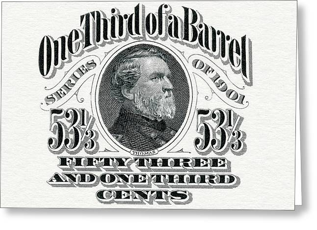 1901 One Third Beer Barrel Tax Stamp Greeting Card by Jon Neidert