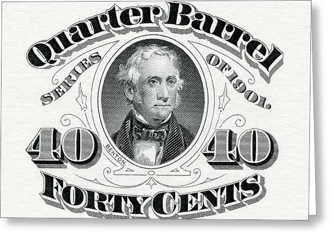 1901 Quarter Beer Barrel Tax Stamp Greeting Card by Jon Neidert