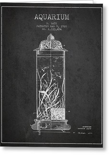 1902 Aquarium Patent - Charcoal Greeting Card by Aged Pixel