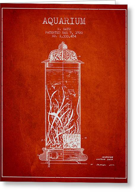1902 Aquarium Patent - Red Greeting Card by Aged Pixel