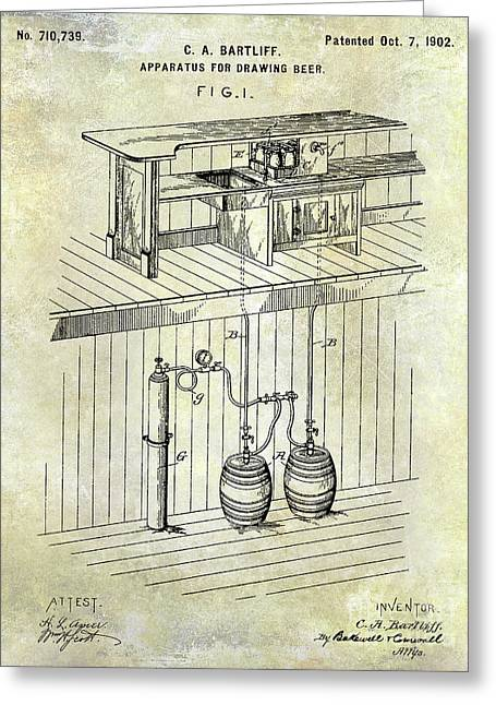 1902 Beer Draft Patent Greeting Card by Jon Neidert
