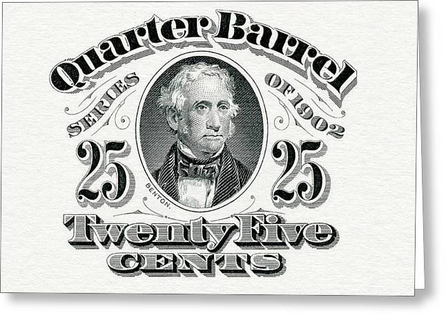 1902 Quarter Beer Barrel Tax Stamp Greeting Card by Jon Neidert