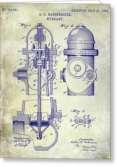 1903 Fire Hydrant Patent Greeting Card by Jon Neidert
