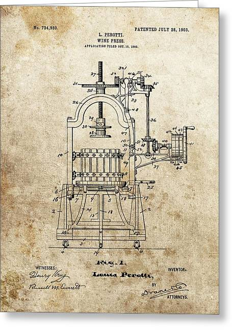 1903 Wine Press Patent Greeting Card