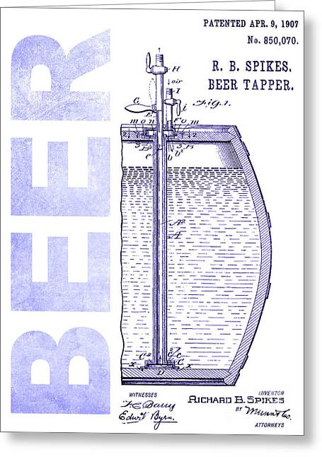 1907 Beer Tapper Patent Blueprint Greeting Card