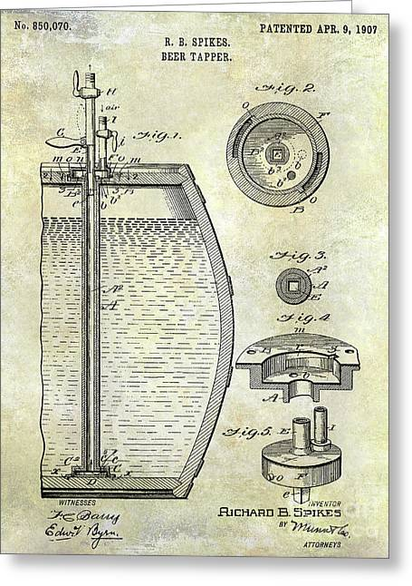 1907 Beer Tapper Patent Greeting Card by Jon Neidert
