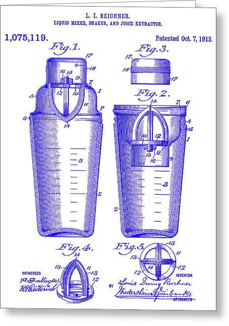 1913 Cocktail Shaker Patent Blueprint Greeting Card