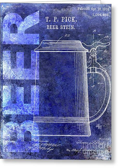 1914 Beer Stein Patent Blue Greeting Card by Jon Neidert