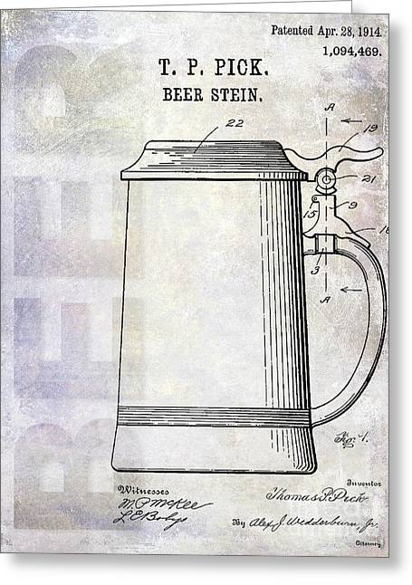 1914 Beer Stein Patent Greeting Card by Jon Neidert