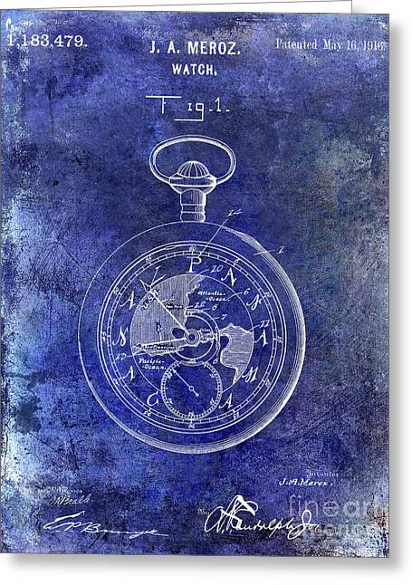 1916 Pocket Watch Patent Blueprint Greeting Card