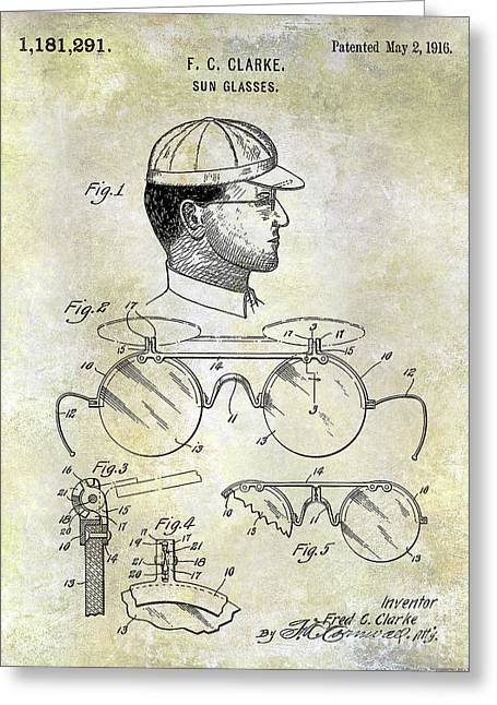 1916 Sunglasses Patent Greeting Card by Jon Neidert