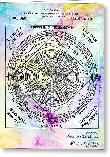 1919 Astrology Patent Colorful Greeting Card by Jon Neidert