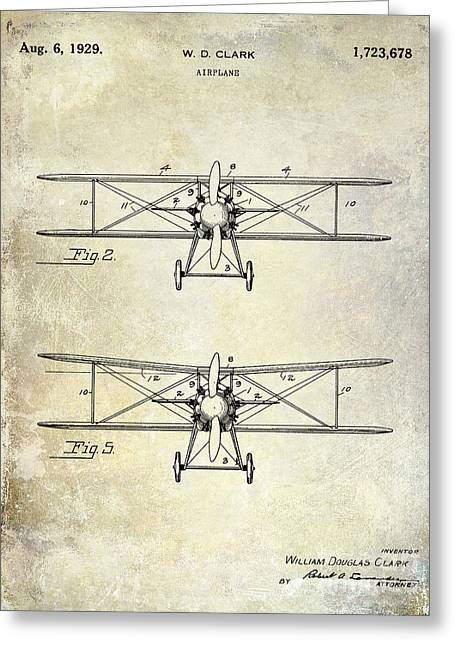 1929 Airplane Patent  Greeting Card