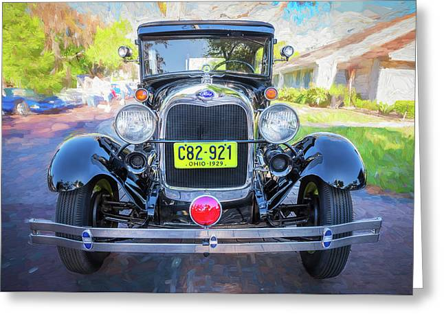 Greeting Card featuring the photograph 1929 Ford Model A Tudor Police Sedan  by Rich Franco