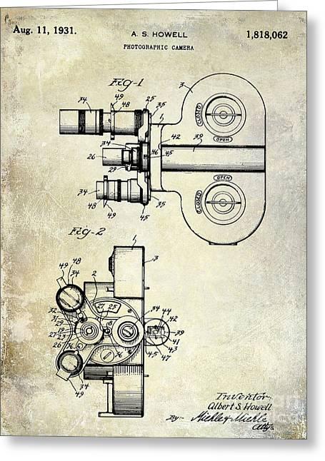 1931 Movie Camera Patent Greeting Card by Jon Neidert