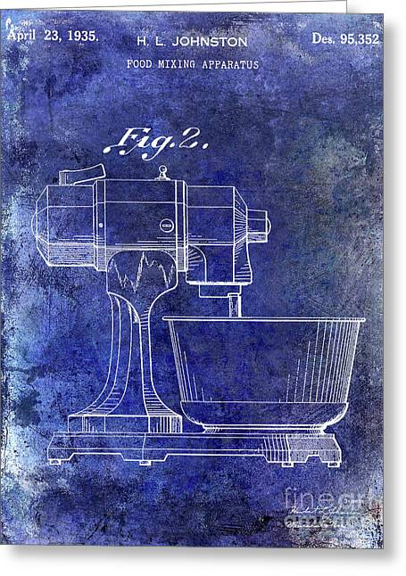 1935 Food Mixing Apparatus Patent Blue Greeting Card