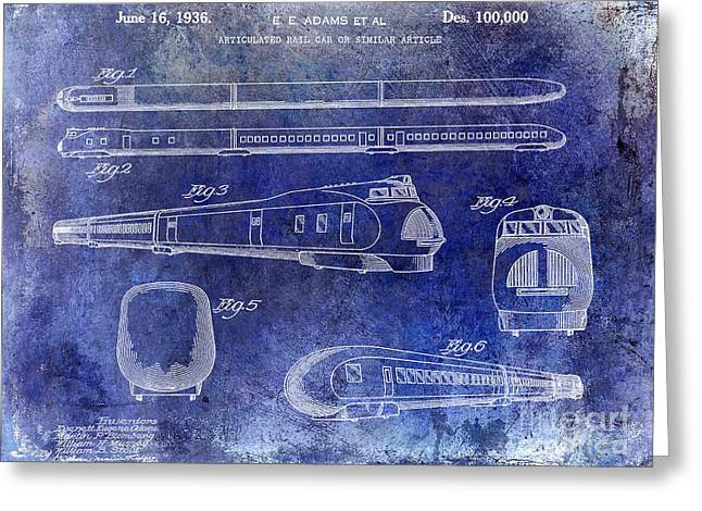 1936 Train Patent Blue Greeting Card by Jon Neidert