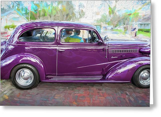 1938 Chevrolet 2 Door Sedan Deluxe C119 Bw Greeting Card by Rich Franco