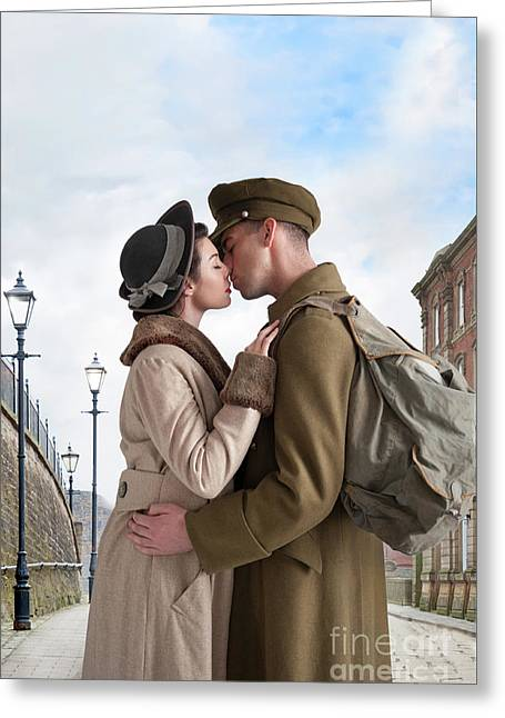 Greeting Card featuring the photograph 1940s Lovers by Lee Avison