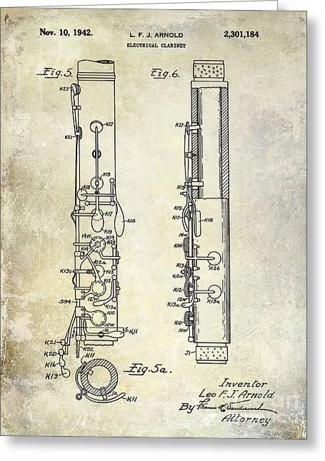 1942 Electric Clarinet Patent  Greeting Card by Jon Neidert