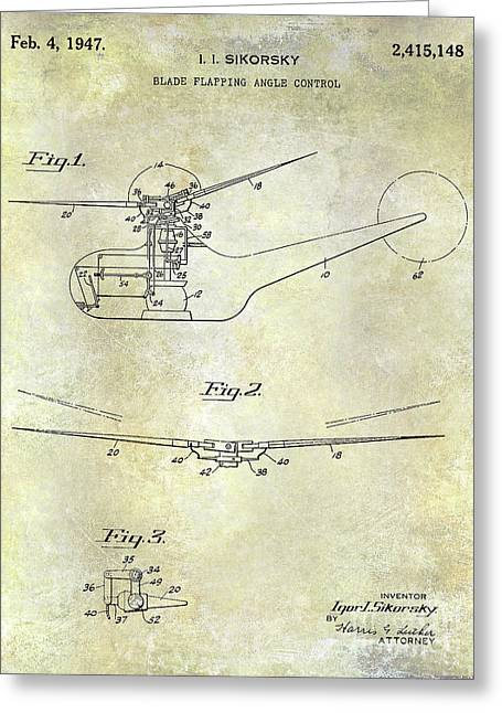 1947 Helicopter Patent Greeting Card by Jon Neidert