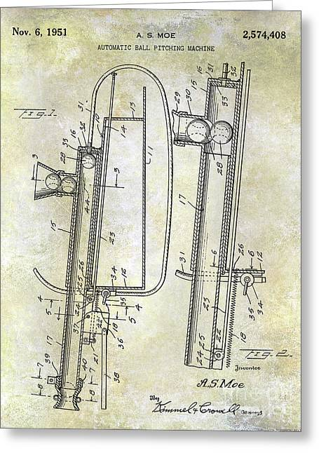 1951 Baseball Pitching Machine Patent Greeting Card by Jon Neidert