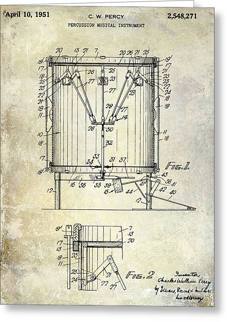 1951 Drum Patent Blue Greeting Card