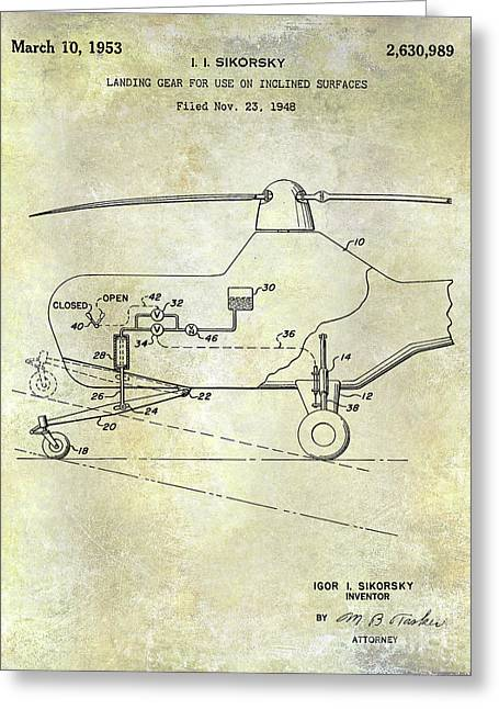 1953 Helicopter Patent Greeting Card by Jon Neidert