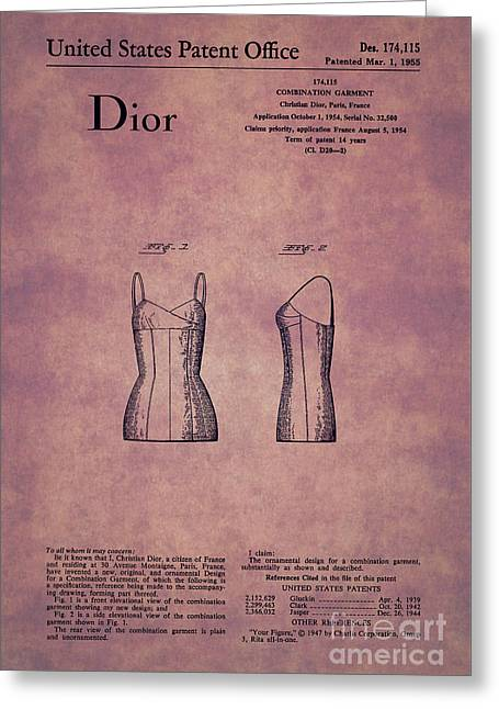 1955 Dior Combination Garment Design 1 Greeting Card by Nishanth Gopinathan