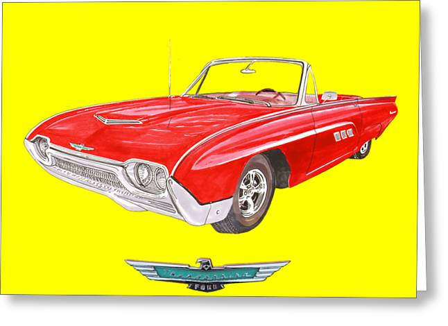 1963 Ford Thunderbird Tee Shirt Art Greeting Card by Jack Pumphrey