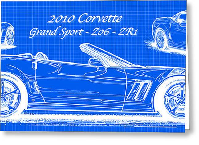 2010 Corvette Grand Sport - Z06 - Zr1 Reverse Blueprint Greeting Card