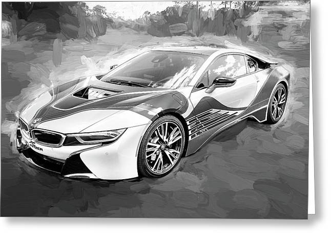 Greeting Card featuring the photograph 2015 Bmw I8 Hybrid Sports Car Bw by Rich Franco