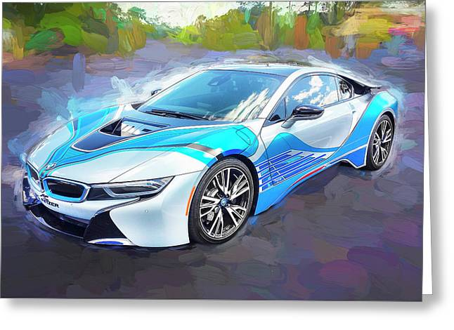 Greeting Card featuring the photograph 2015 Bmw I8 Hybrid Sports Car by Rich Franco