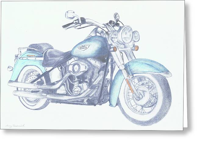 Greeting Card featuring the drawing 2015 Softail by Terry Frederick