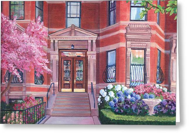 Sunlit Door Greeting Cards - 238 Marlborough Street Greeting Card by Laura DeDonato