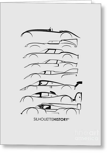 24 Hours Race Cars Silhouettehistory Greeting Card