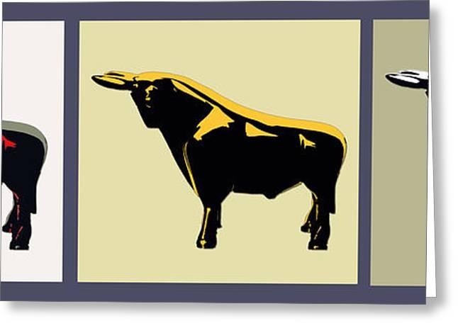 3 Bulls Greeting Card by Slade Roberts